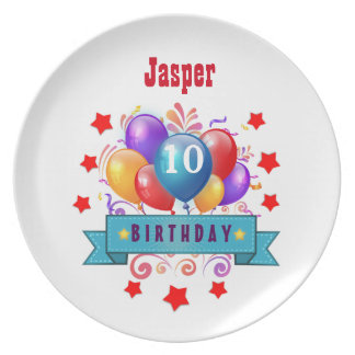 10th Birthday Festive Colorful Balloons V10FZ Plates