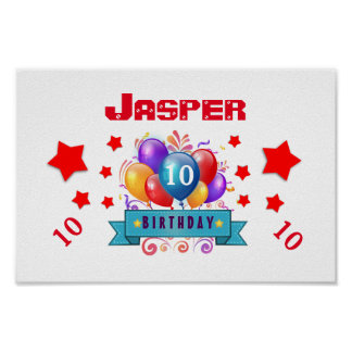 10th Birthday Festive Colorful Balloons V10FZ Poster