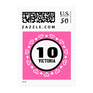 10th Birthday for Her HEARTS Frame PINK P29Z Postage