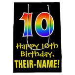 "[ Thumbnail: 10th Birthday: Fun, Bold, Colorful, Rainbow ""10"" Gift Bag ]"