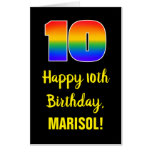 [ Thumbnail: 10th Birthday: Fun, Colorful, Happy, Rainbow # 10 Card ]