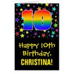 [ Thumbnail: 10th Birthday: Fun, Colorful Stars + Rainbow # 10 Card ]
