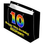 [ Thumbnail: 10th Birthday ~ Fun, Colorful, Vibrant, Rainbow 10 Gift Bag ]