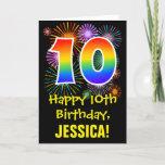 [ Thumbnail: 10th Birthday: Fun Fireworks Pattern + Rainbow 10 Card ]