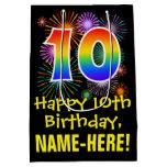 [ Thumbnail: 10th Birthday: Fun Fireworks Pattern + Rainbow 10 Gift Bag ]