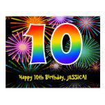[ Thumbnail: 10th Birthday – Fun Fireworks Pattern + Rainbow 10 Postcard ]