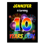 "[ Thumbnail: 10th Birthday - Fun Fireworks, Rainbow Look ""10"" Postcard ]"