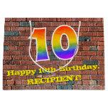 [ Thumbnail: 10th Birthday: Fun, Graffiti-Inspired Rainbow # 10 Gift Bag ]