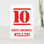[ Thumbnail: 10th Birthday: Fun, Red Rubber Stamp Inspired Look Card ]