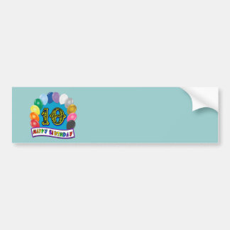 10th Birthday Gifts with Assorted Balloons Design Bumper Sticker