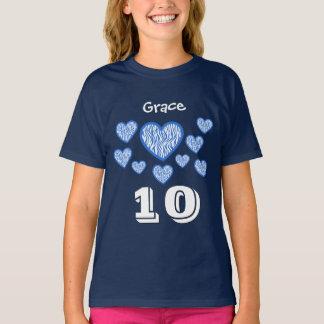 10th Birthday Girl Zebra Hearts Custom Name Navy T-Shirt