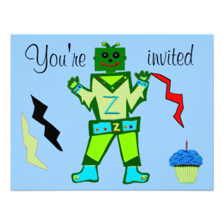 10th Birthday Green Robot Boy and Spaceship Stars Personalized Announcement