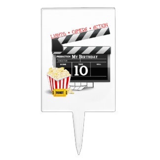 10th Birthday Hollywood Movie Party Cake Topper