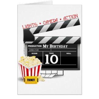10th Birthday Hollywood Movie Party Card