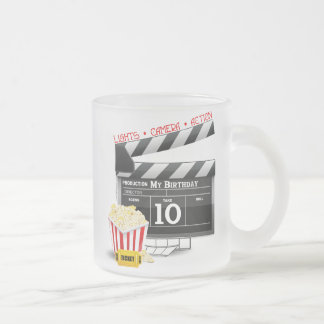 10th Birthday Hollywood Movie Party Frosted Glass Coffee Mug