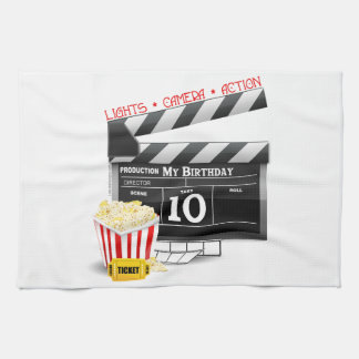 10th Birthday Hollywood Movie Party Kitchen Towel