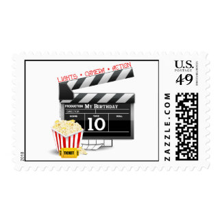 10th Birthday Hollywood Movie Party Postage