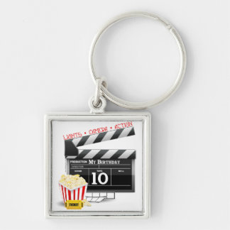 10th Birthday Hollywood Movie Party Silver-Colored Square Keychain