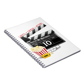 10th Birthday Hollywood Movie Party Spiral Note Book