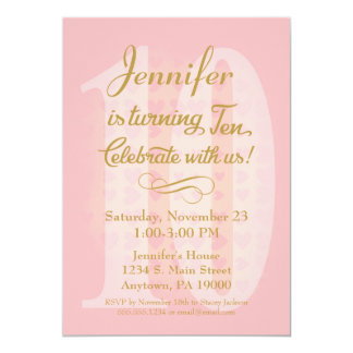 10th birthday invitations announcements zazzle 10th birthday invitation girls pink gold hearts stopboris Image collections