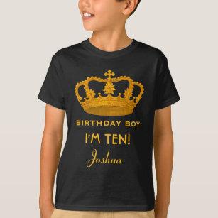 10th Birthday King Custom Name Royal Crown W25 T Shirt