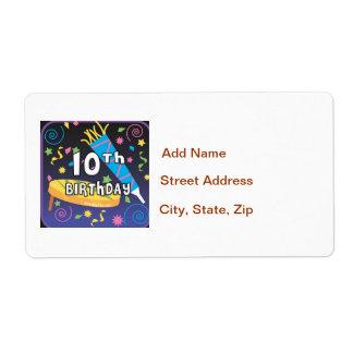 10th Birthday Label
