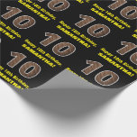 """[ Thumbnail: 10th Birthday: Name & Faux Wood Grain Pattern """"10"""" Wrapping Paper ]"""