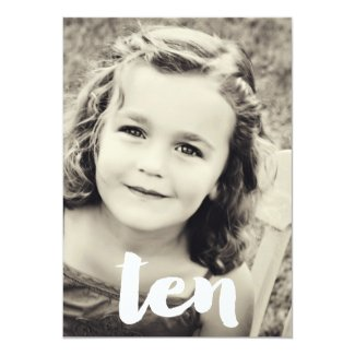10th Birthday Number Ten Photo Overlay Invitation