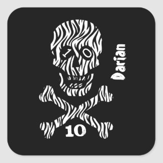 10th Birthday or Any Year Skull and Crossbones A04 Square Sticker