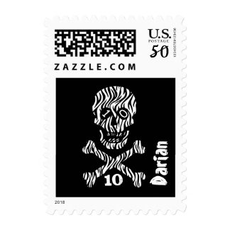 10th Birthday or Any Year Skull and Crossbones J14 Postage
