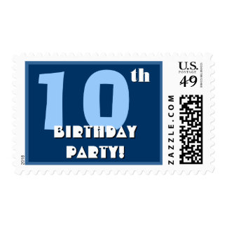 10th Birthday Party Big Bold Blue and White Postage Stamp