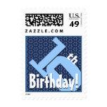 10th Birthday Party Big Bold Blue White Stars V7 Postage Stamps
