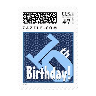 10th Birthday Party Big Bold Blue White Stars V7 Stamp