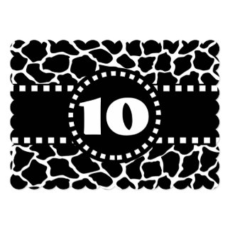 10th Birthday Party Black and White Giraffe W10A 5x7 Paper Invitation Card