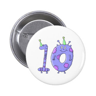 10th Birthday Party Cartoon Creatures Pin