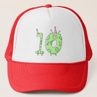10th Birthday Party Cartoon - Green. Trucker Hat