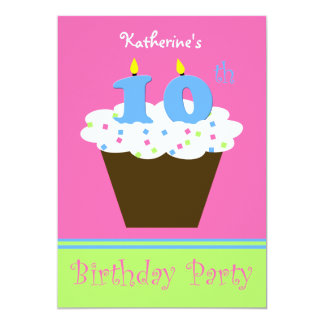 10th Birthday Party Invitation -- 10 Candles Card