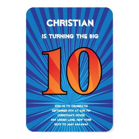 10th Birthday Party Invitation Boy Zazzle Com