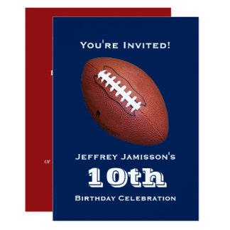10th Birthday Party Invitation, Football Card