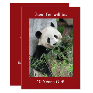 10th Birthday Party Invitation Giant Pandas Red