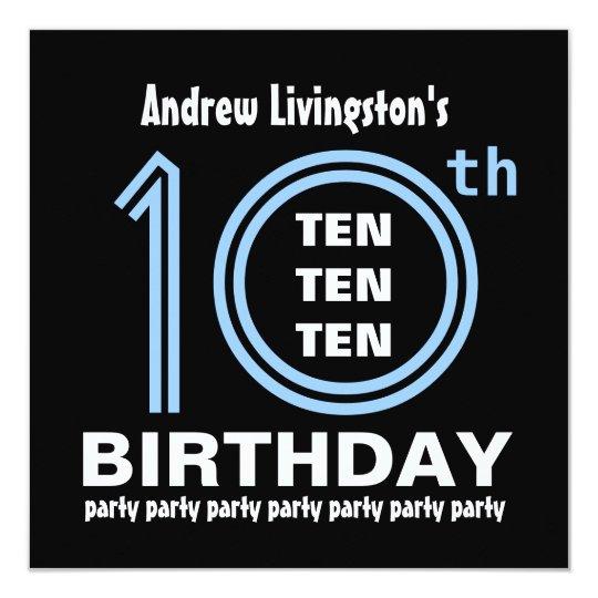 10th Birthday Party Modern Blue and Black B451 Card