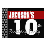 10th Birthday Party Modern Red Black and White Personalized Announcements