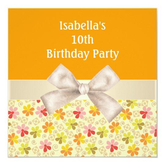 10th Birthday Party Orange Cream Flowers Card