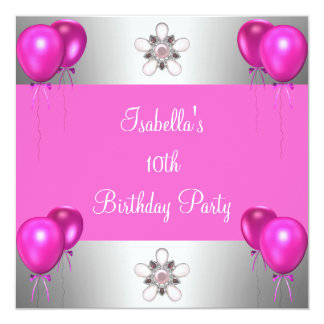 10th Birthday Party Pretty in Pink Balloons Silver Card