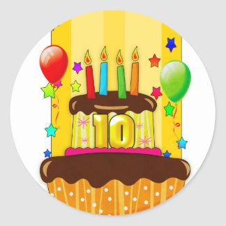 10th birthday party stickers - 10th birthday stick