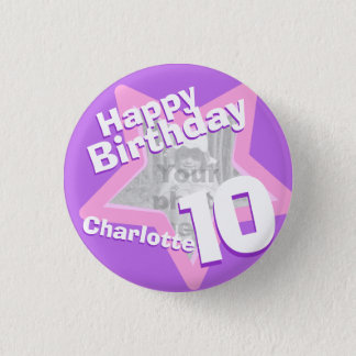 10th Birthday photo fun purple pink button badge