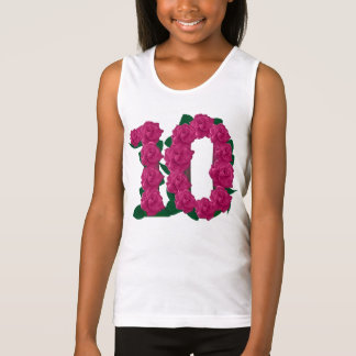 10th birthday pink flowers floral T-shirt