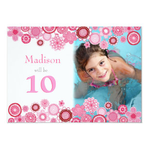 10th Birthday Pink Party Invitation Photo Card