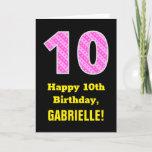 "[ Thumbnail: 10th Birthday: Pink Stripes and Hearts ""10"" + Name Card ]"
