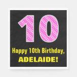 "[ Thumbnail: 10th Birthday: Pink Stripes and Hearts ""10"" + Name Napkins ]"